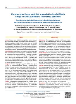 Koroner arter ile sol ventrikül arasındaki mikrofistüllerin sıklığı ve