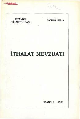ITHALAT MEVZUATı