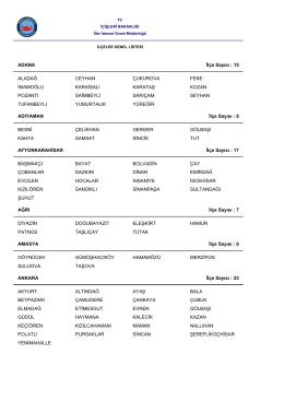 İlçeler genel listesi