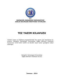 tez yazım kılavuzu - ESOGÜ Sağlık Bilimleri Enstitüsü
