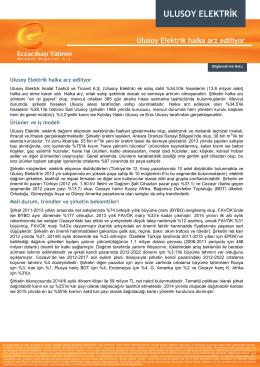 ulusoy elektrik - Eczacıbaşı Menkul Değerler A.Ş.