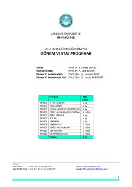 Dönem VI - Balıkesir Üniversitesi Sağlık Uygulama ve Araştırma