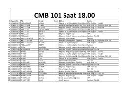 Saat 18:00 - Balat ve Beylerbeyi Sınıf Listesi