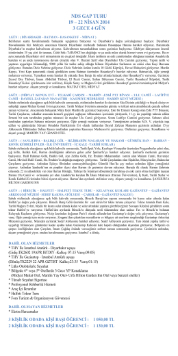 NDS GAP TURU 19 – 22 NİSAN 2014 3 GECE 4 GÜN