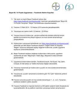 Bayer 60. Yıl Puzzle Uygulaması – Facebook Katılım Koşulları 1. Tek