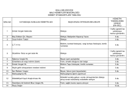 bolu belediyesi mali hizmetler müdürlüğü hizmet standartları tablosu