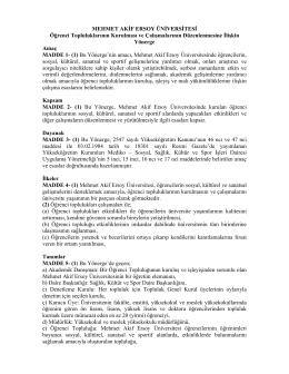 Öğrenci Toplulukları Yönergesi - Mehmet Akif Ersoy Üniversitesi