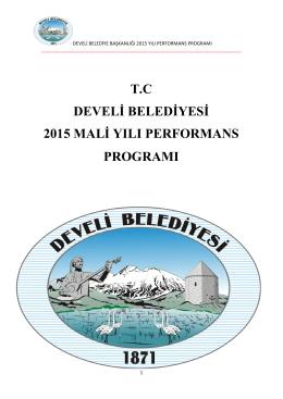 tc develi belediyesi 2015 mali yılı performans programı