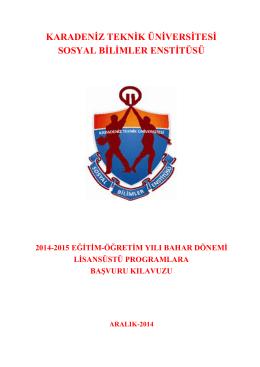 karadeniz teknik üniversitesi sosyal bilimler enstitüsü