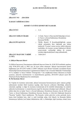 Dosya No: 2014/2810 - Kamu Denetçiliği Kurumu