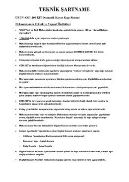 TEKNİK ŞARTNAME - Sinus Elektronik