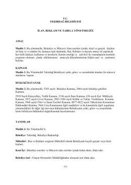 T.C. TEKİRDAĞ BELEDİYESİ İLAN, REKLAM VE TABELA