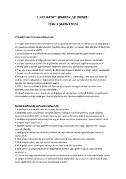 ukra hayat ıspartakule projesi teknik şartnamesi