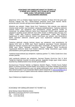 1 eczacıbaşı yapı gereçleri sanayi ve ticaret a.ş. 15 nisan 2014