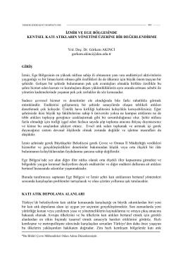 İzmir ve Ege Bölgesinde Kentsel Katı Atıkların Yönetimi Üzerine Bir