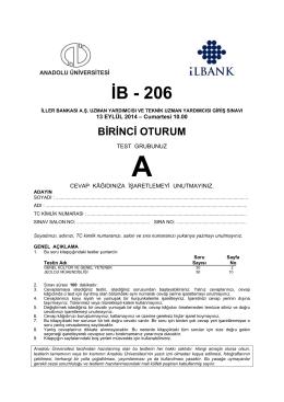 İB - 206 - Anadolu Üniversitesi Sınav Hizmetleri