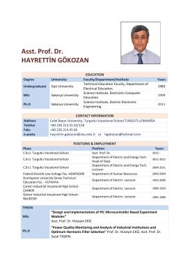 Asst. Prof. Dr. HAYRETTİN GÖKOZAN