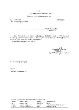 Konu : Koop-Gep Eğitimleri 03/11/2014 MÜ