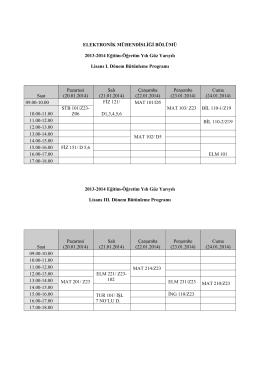 ELEKTRONİK MÜHENDİSLİĞİ BÖLÜMÜ 2013-2014 Eğitim