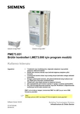 PME73.831 Brülör kontrolleri LME73.000 için program
