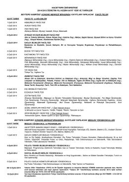 hacettepe üniversìtesi 2014/2015 öğretim yılı kesin