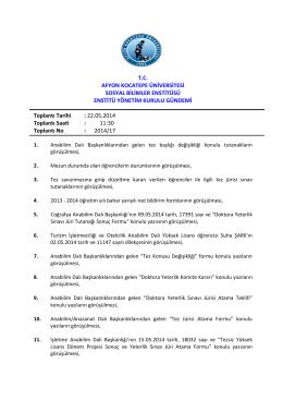 22.05.2014 Tarih ve 2014-17 Sayılı Karar