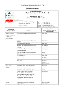 Akreditasyon Sertifikası Eki (Sayfa 1/10) Akreditasyon Kapsamı