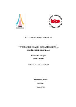 Yenilikçilik Odaklı İktisadi Kalkınma MDP Başvuru Rehberi