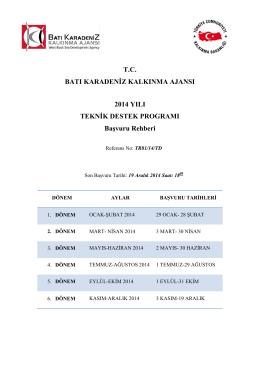 2014 Yılı Teknik Destek Programı Başvuru Rehberi