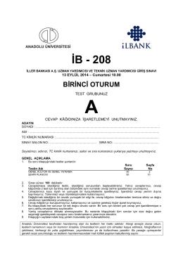 İB - 208 - Anadolu Üniversitesi Sınav Hizmetleri