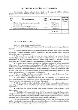 TSE PERSONEL ALIMI GİRİŞ SINAVI DUYURUSU Enstitümüzde