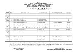 I. ve II. Öğretim ARA SINAV Programı