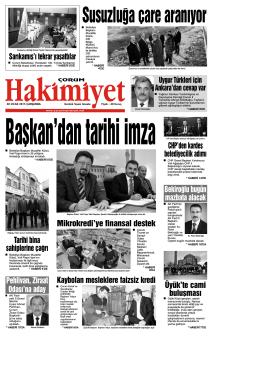 28 Ocak 2015 Çarşamba - Çorum Hakimiyet Gazetesi