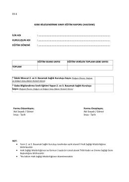 Gebe bilgilendirme sınıfı eğitim raporu (hastane)