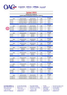 olefını klm fiyat listesi şubat 2015