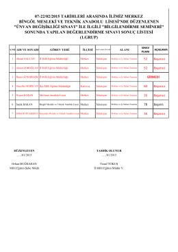 07-22/02/2015 tarihleri arasında ilimiz merkez bingöl mesleki ve