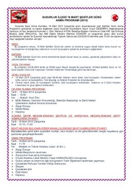 2015 Yılı 18 Mart Şehitler Günü İlçe Anma Programını indirmek için
