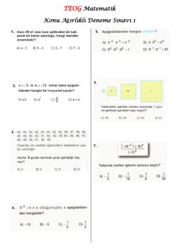 TEOG Matematik Konu Ağırlıklı Deneme Sınavı 1
