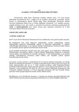 T.C. ANADOLU ÜNİVERSİTESİ REKTÖRLÜĞÜNDEN Üniversitemiz
