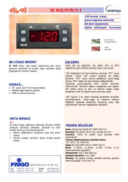 IC 915 TR - FRİGO SOĞUTMA SANAYİ ve TİCARET A.Ş.