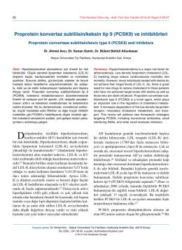 (PCSK9) ve inhibitörleri - Türk Kardiyoloji Derneği Arşivi