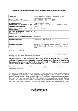MATERIAL EVENT DISCLOSURE FORM REGARDING