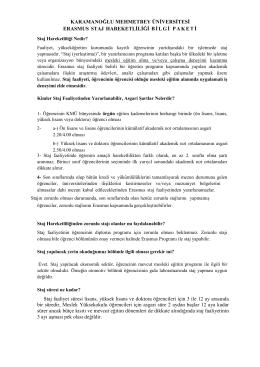 Erasmus Staj Hareketliliği hakkında detaylı bilgi için tıklayınız.
