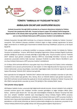 """TÜRKİYE """"AMBALAJ AY YILDIZLARI""""NI SEÇTİ AMBALAJIN OSCAR"""