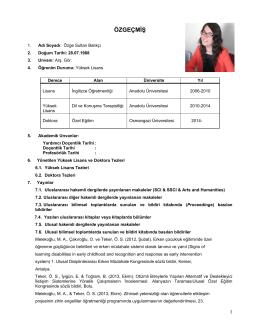 Araş.Gör. Özge Sultan BALIKÇI - Eskişehir Osmangazi Üniversitesi