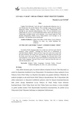 """""""VARAK"""" / ORTAK TÜRKÇE """"ÖZEK"""" - Uluslararası Türkçe Edebiyat"""