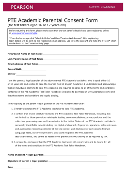 PTE Academic Parental Consent Form