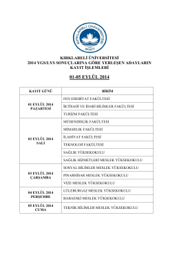 Kayıt İşlemleri - Kırklareli Üniversitesi