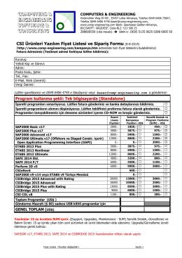 İndirimli Kampanya Fiyat Listesi ve Sipariş Formu