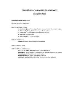 türkiye inovasyon haftası 2014 gaziantep program akışı
